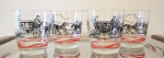 Vintage stagecoach bar glasses set of 4