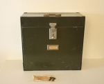 Antique portable steel file box with keys