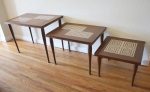 Mid century modern tile top nesting tables set of 3