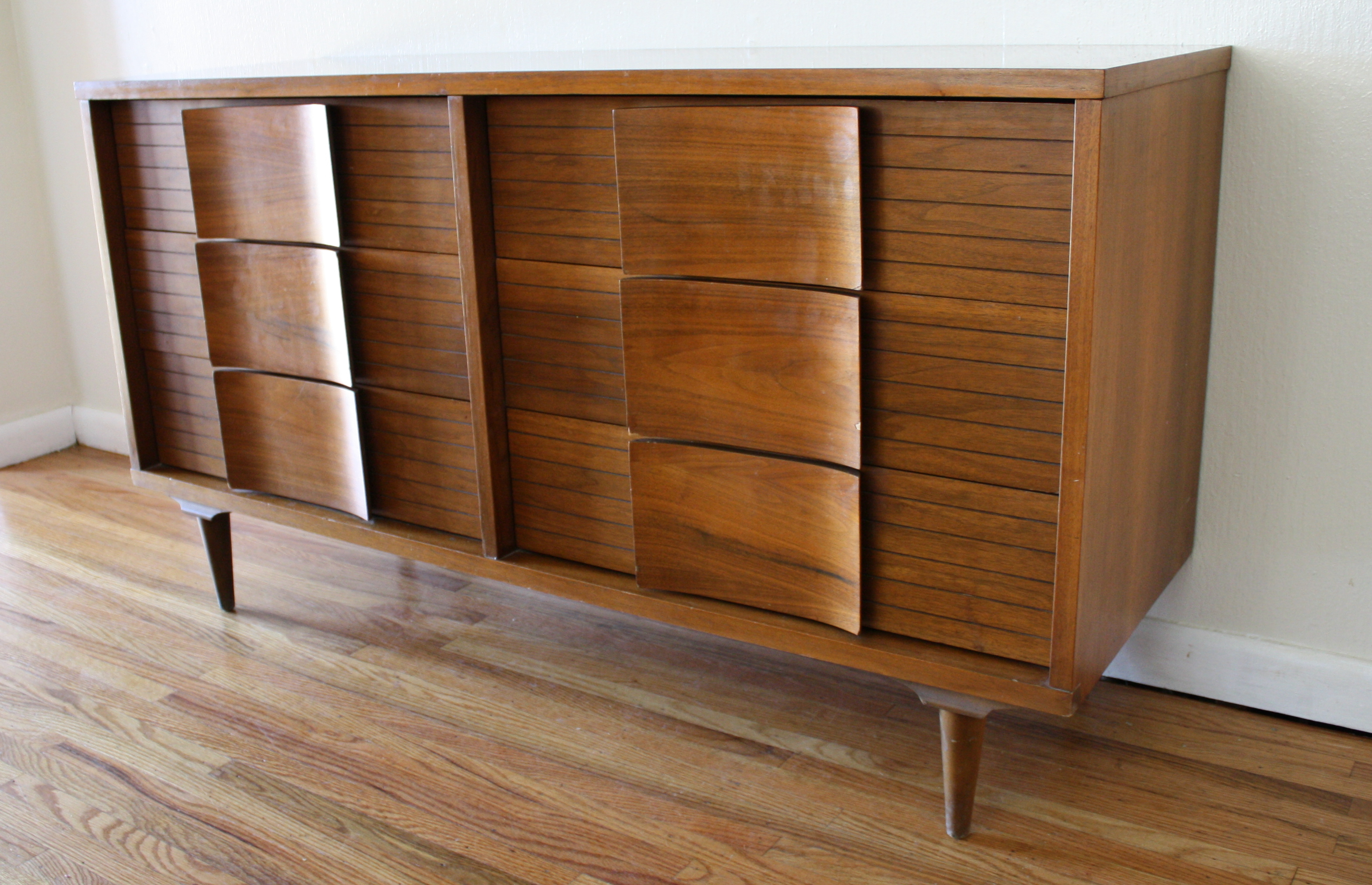mcm credenza with curved drawer pulls picked vintage curved