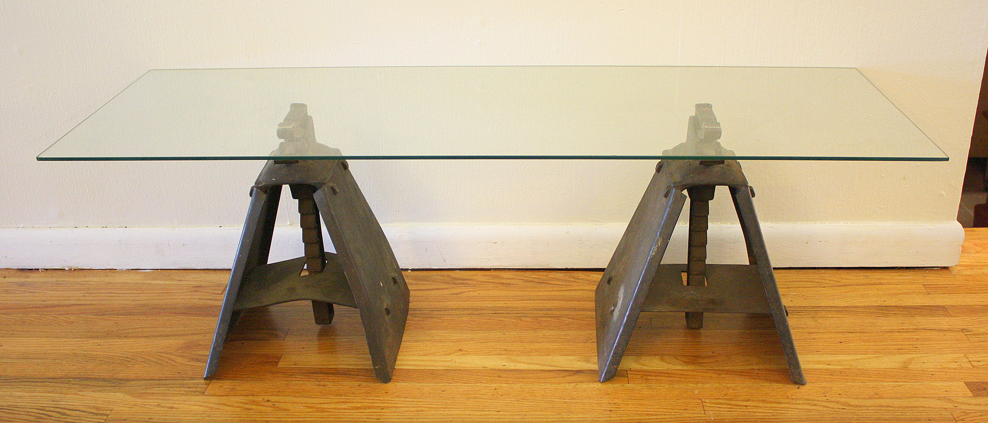 industrial jack coffee table picked vintage