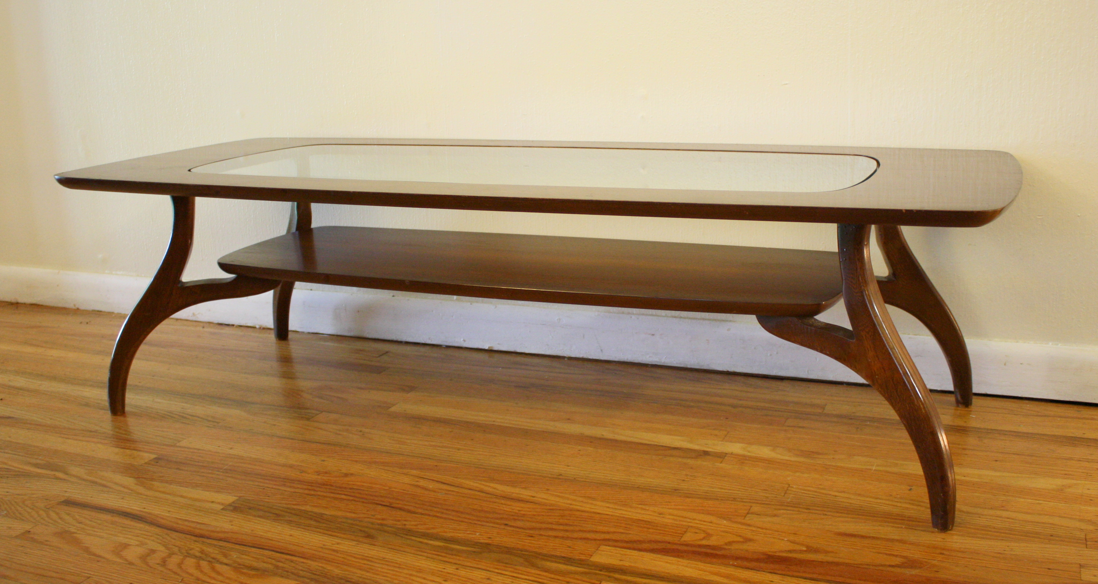 Kidney Shaped Glass Top Coffee Table Bassett Coffee Table Picked Vintage