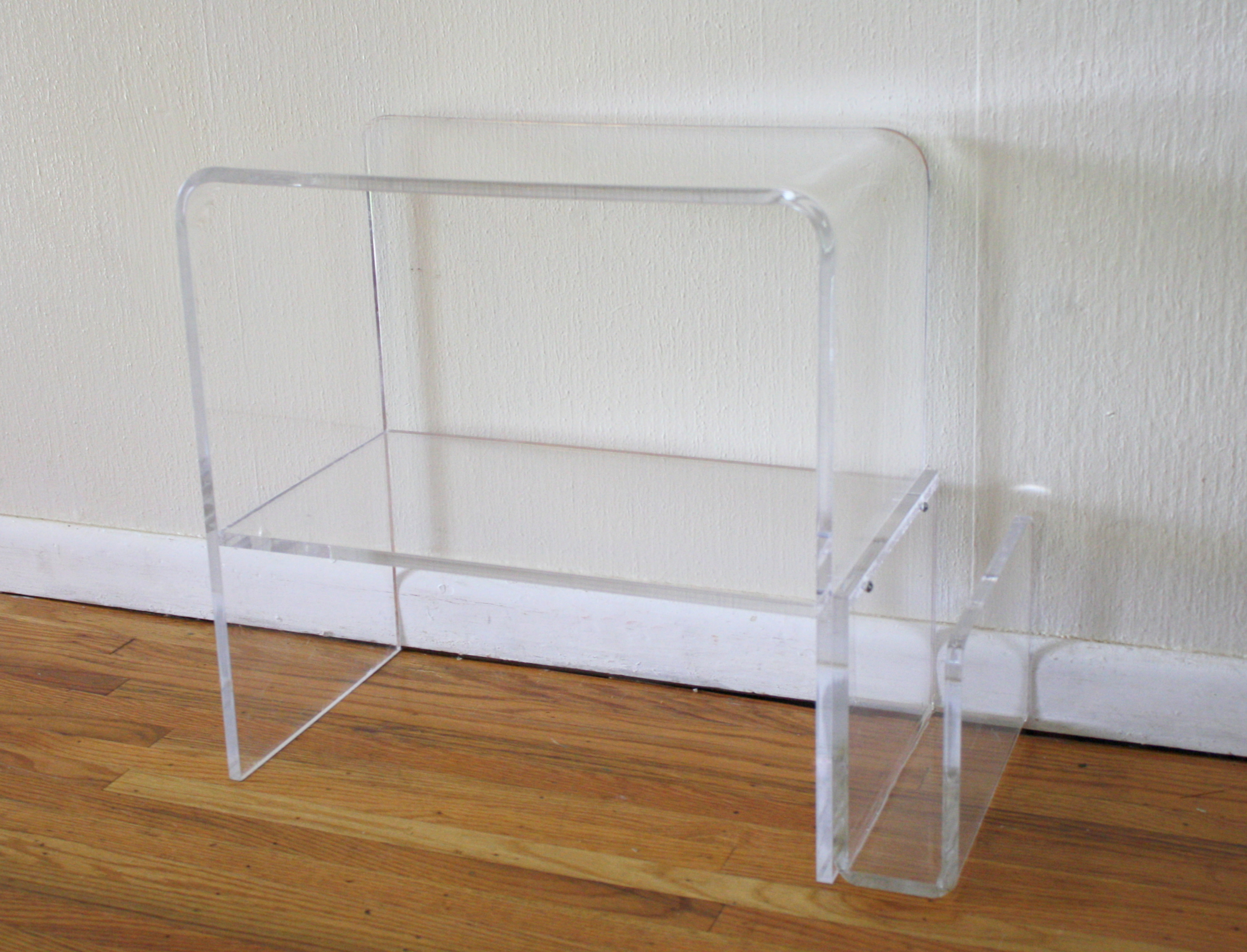 Lucite Side Table Magazine Rack 2 Picked Vintage
