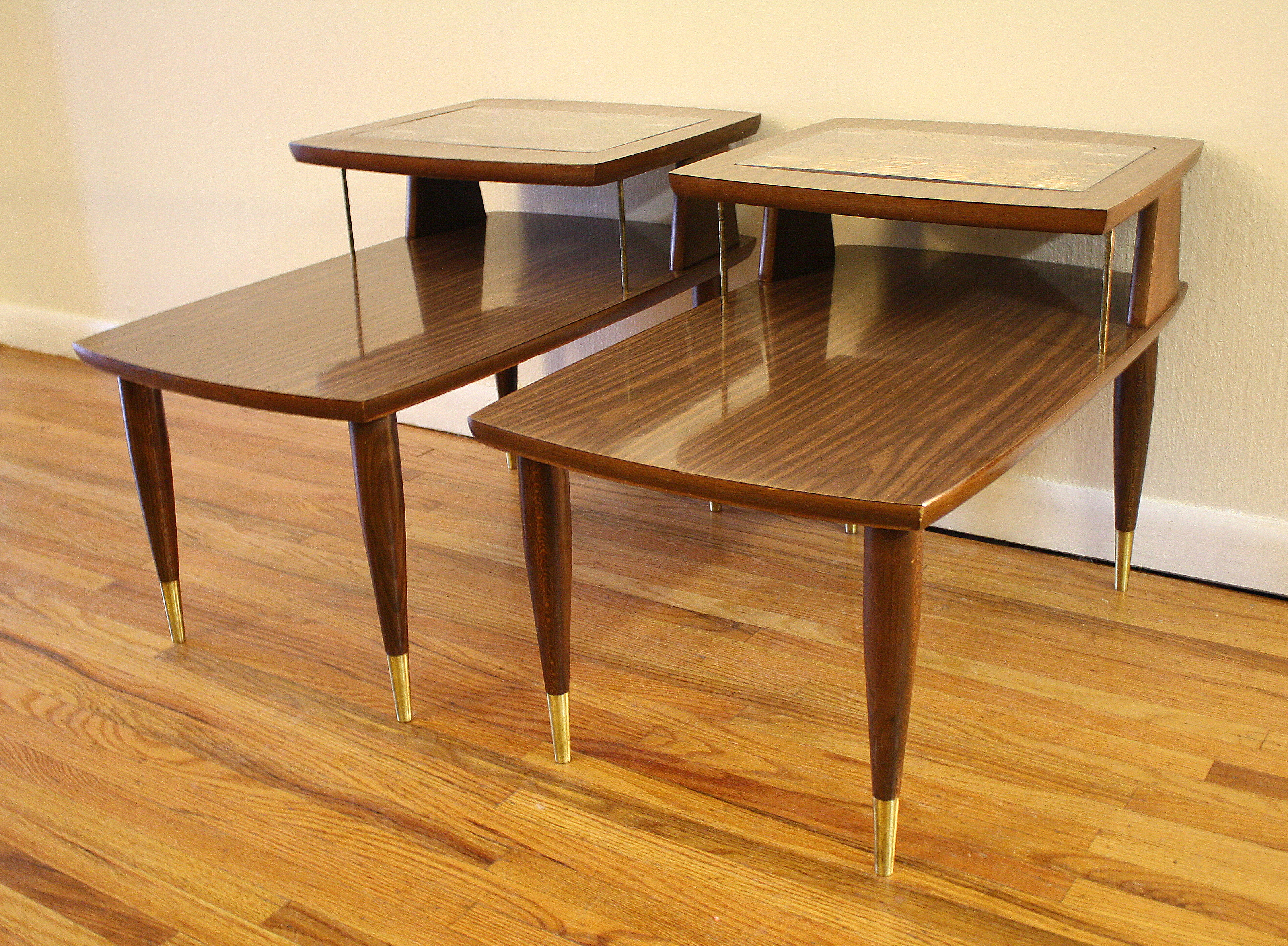 Mid Century Modern 2 Tiered End Tables Picked Vintage