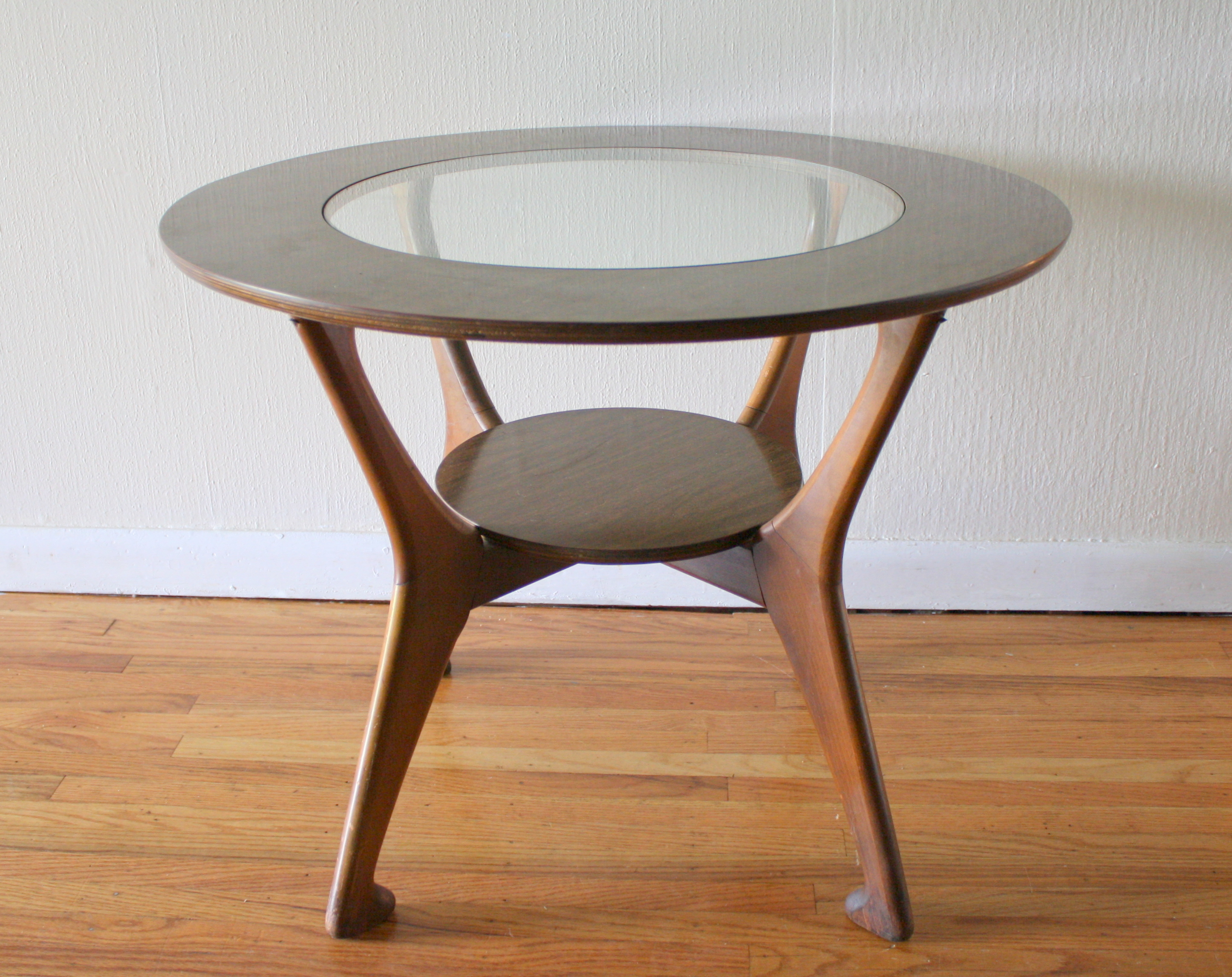 Mcm Round Side Table With Glass Top