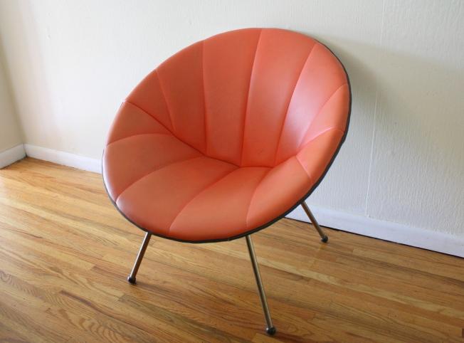 mcm orange round chair 1