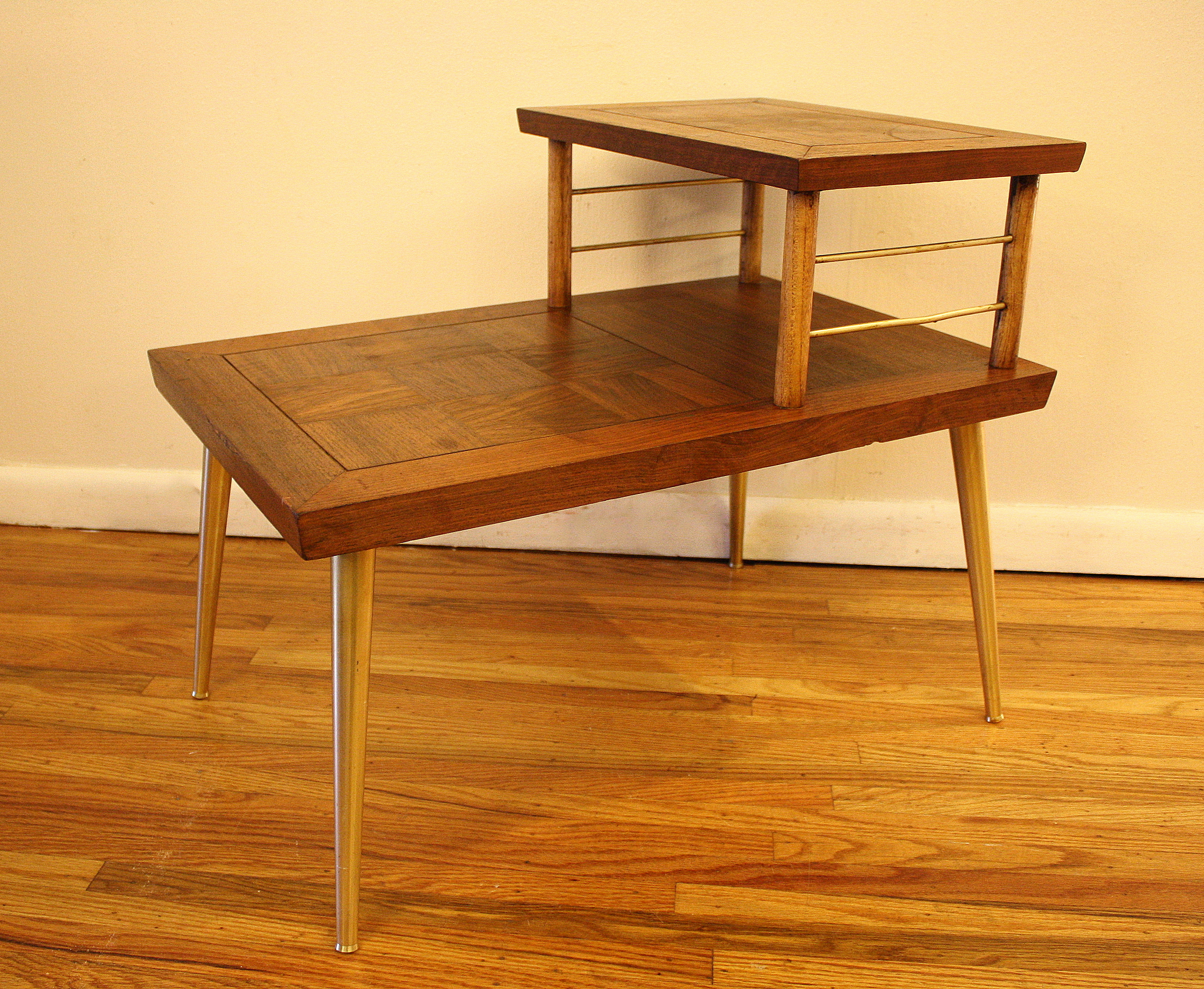 mcm parquet two tiered side table 1   Picked Vintage