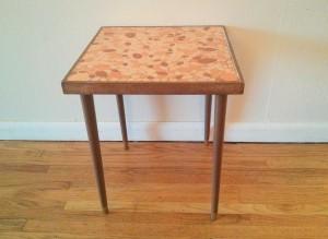 orange tile side table