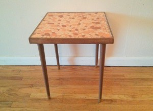 orange tile side table