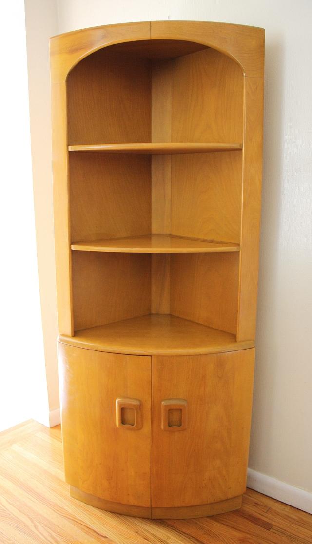 Heywood Wakefield Corner Cabinet Bench Bookshelf