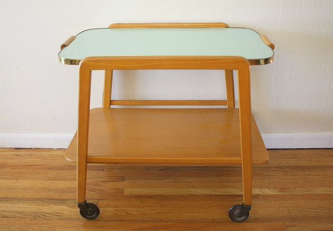 Mcm Serving cart with turquoise formica top