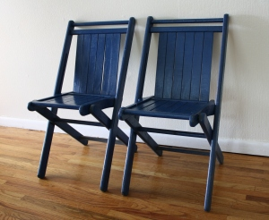 vintage blue folding chairs