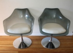 Mid century modern lucite swiveling shell chairs with upholstered cushions: $325 each
