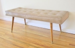 Mcm tufted bench with splayed legs - *SOLD*