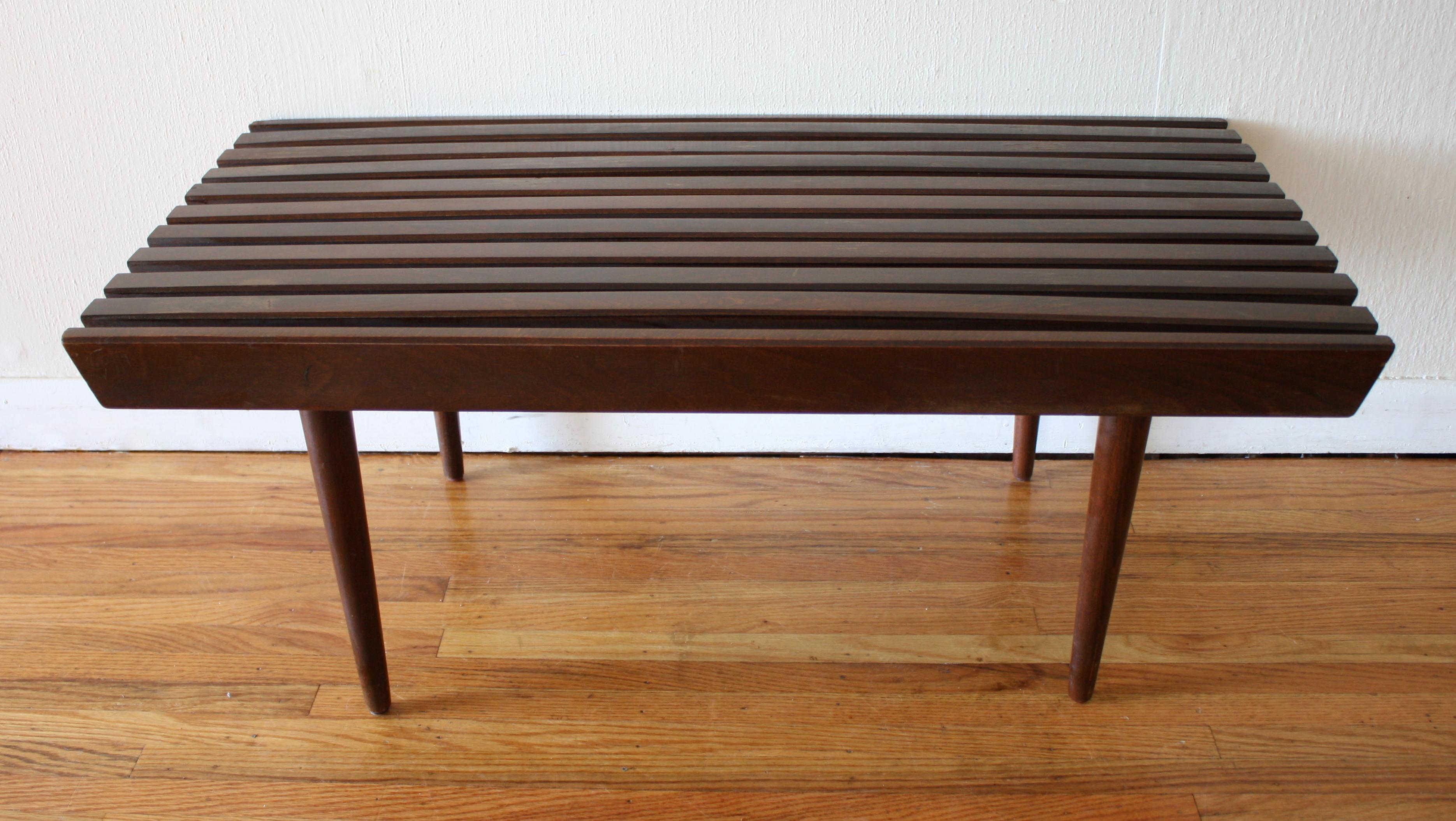 Mcm Dark Slatted Coffee Table Bench 1 Picked Vintage