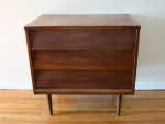 mcm mini dresser with slanted drawers 1