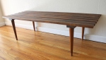 Mid century modern slatted coffee table bench (Yugoslavia): *SOLD*