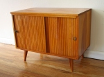 Mid century modern record cabinet with tambour doors - *SOLD*