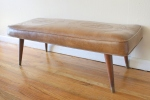 Mcm upholstered tooled bench - *SOLD*