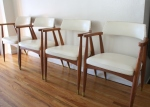 mcm white barrel back chairs 1