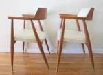 Mid century modern arm chairs with brass tack detail: *SOLD*