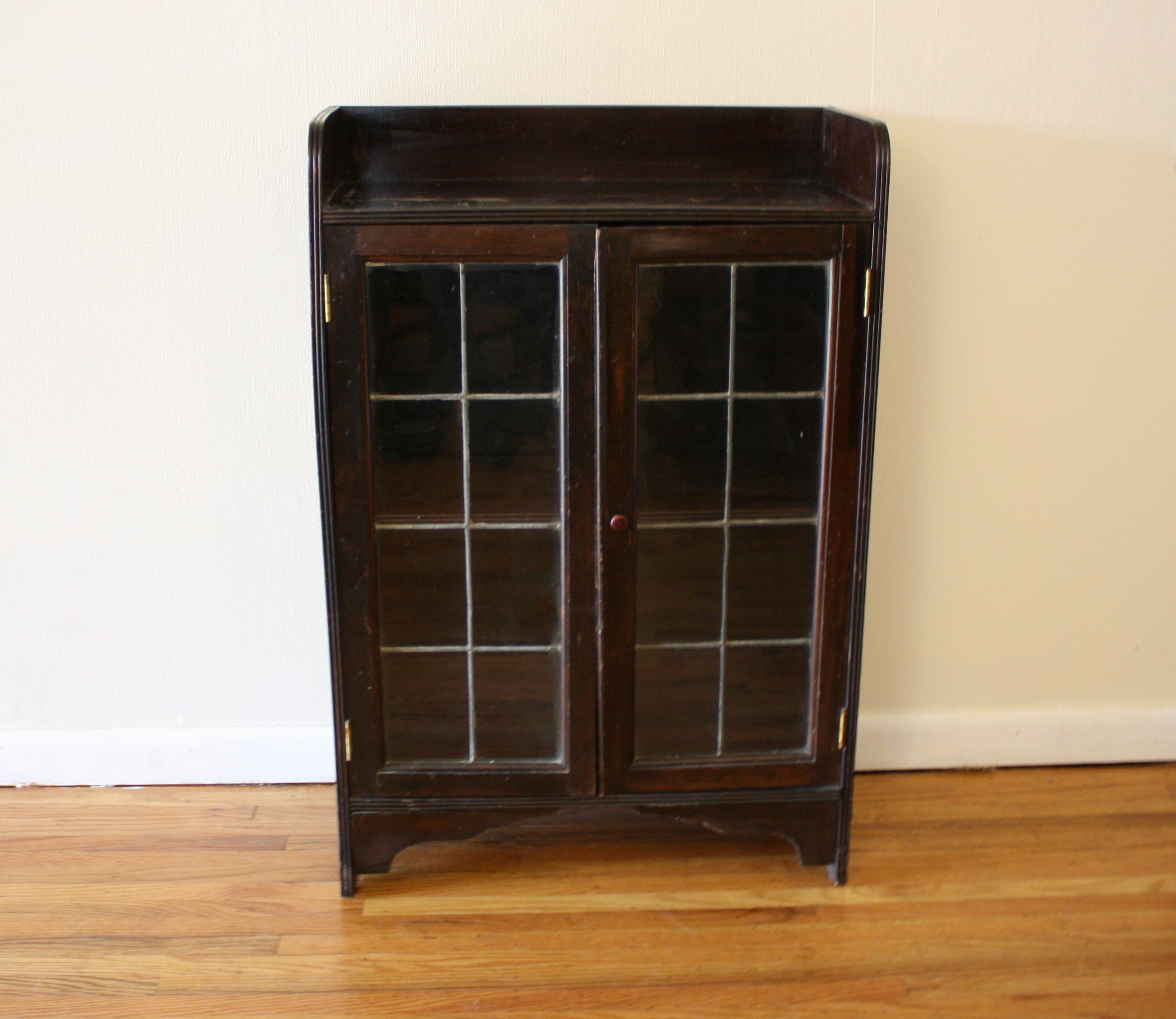 Antique Mini Cabinets Leaded Glass Picked Vintage
