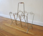 Mid century modern wood accented wire magazine rack - *SOLD*