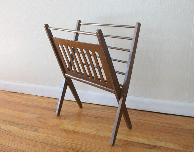 Mid century modern Danish folding magazine rack - $75, 2 available