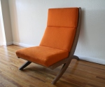 mcm orange chair with detachable writing desk 1