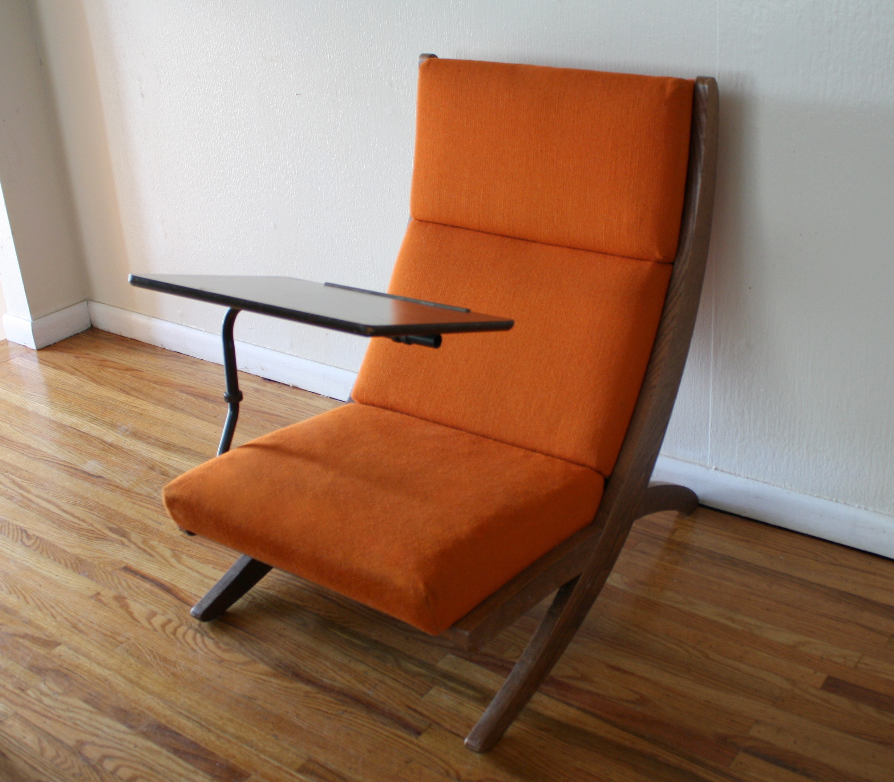 Mcm Orange Chair With Detachable Writing Desk 2 Picked