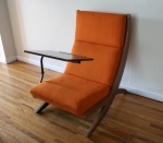 mcm orange chair with detachable writing desk 2