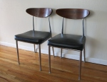 Mid century modern chrome and wood chairs