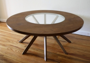Broyhill cathedral round coffee table