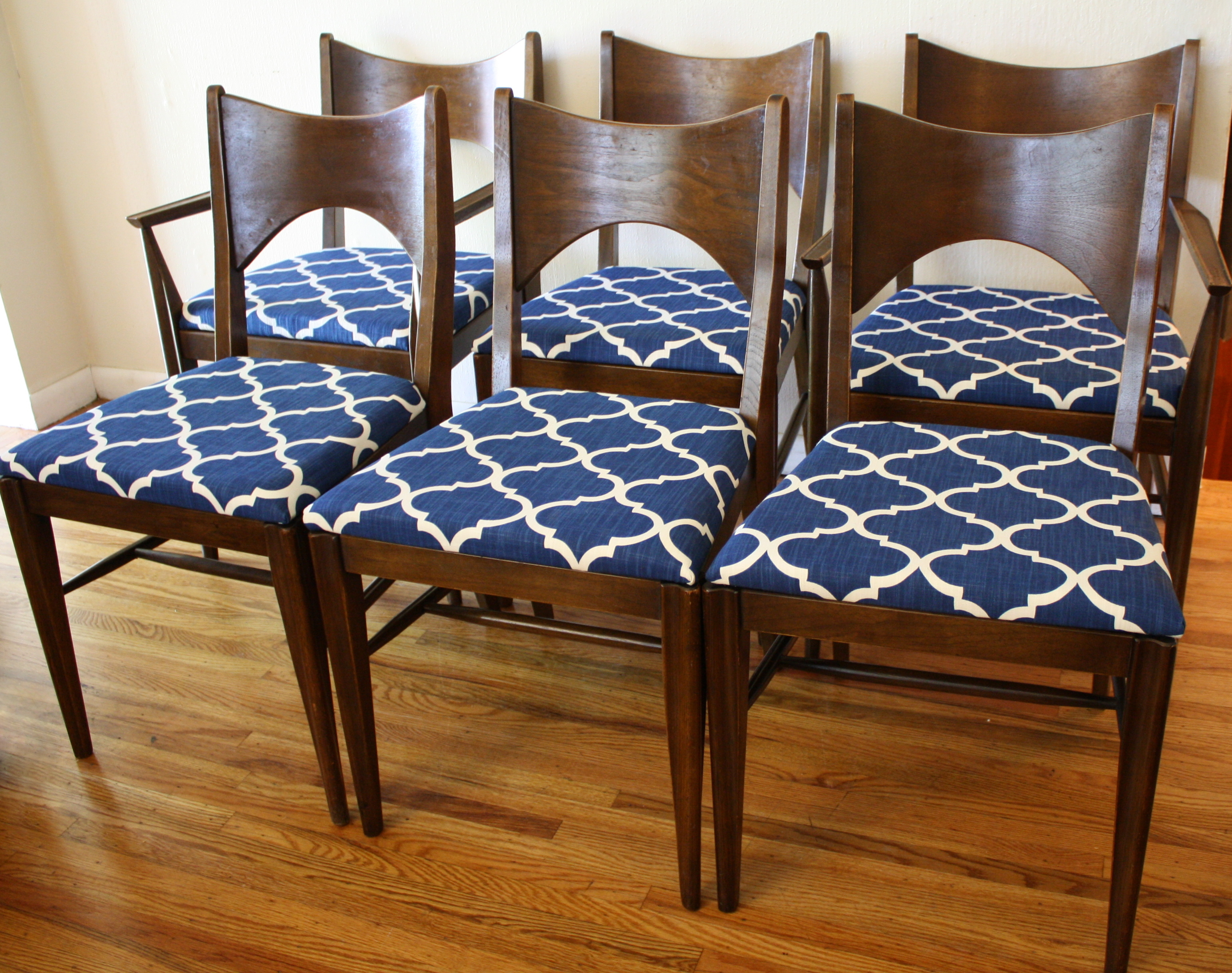 Mid century modern broyhill saga dining chairs picked vintage - Cushioned dining room chairs ...