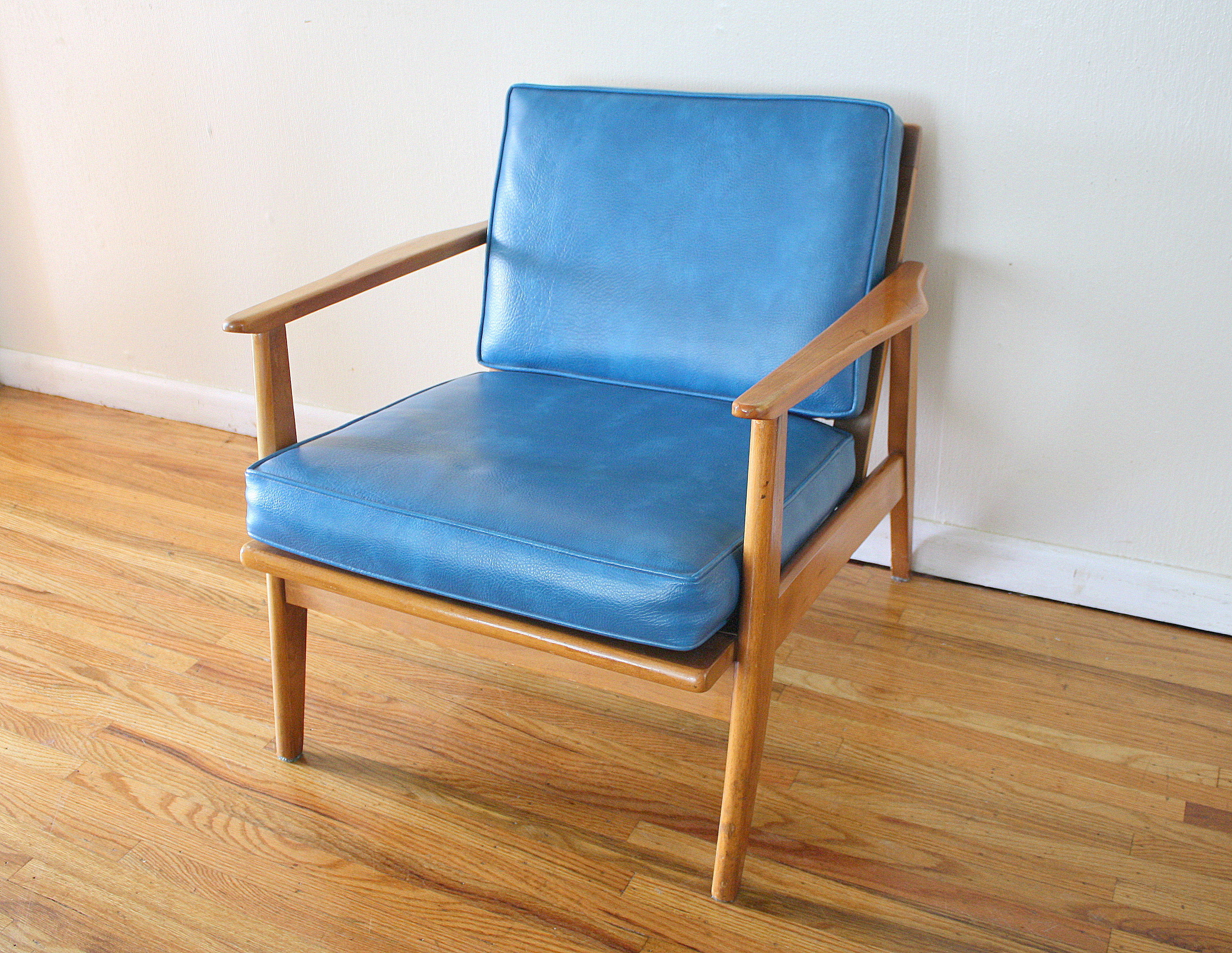 mcm blue lounge arm chair 1