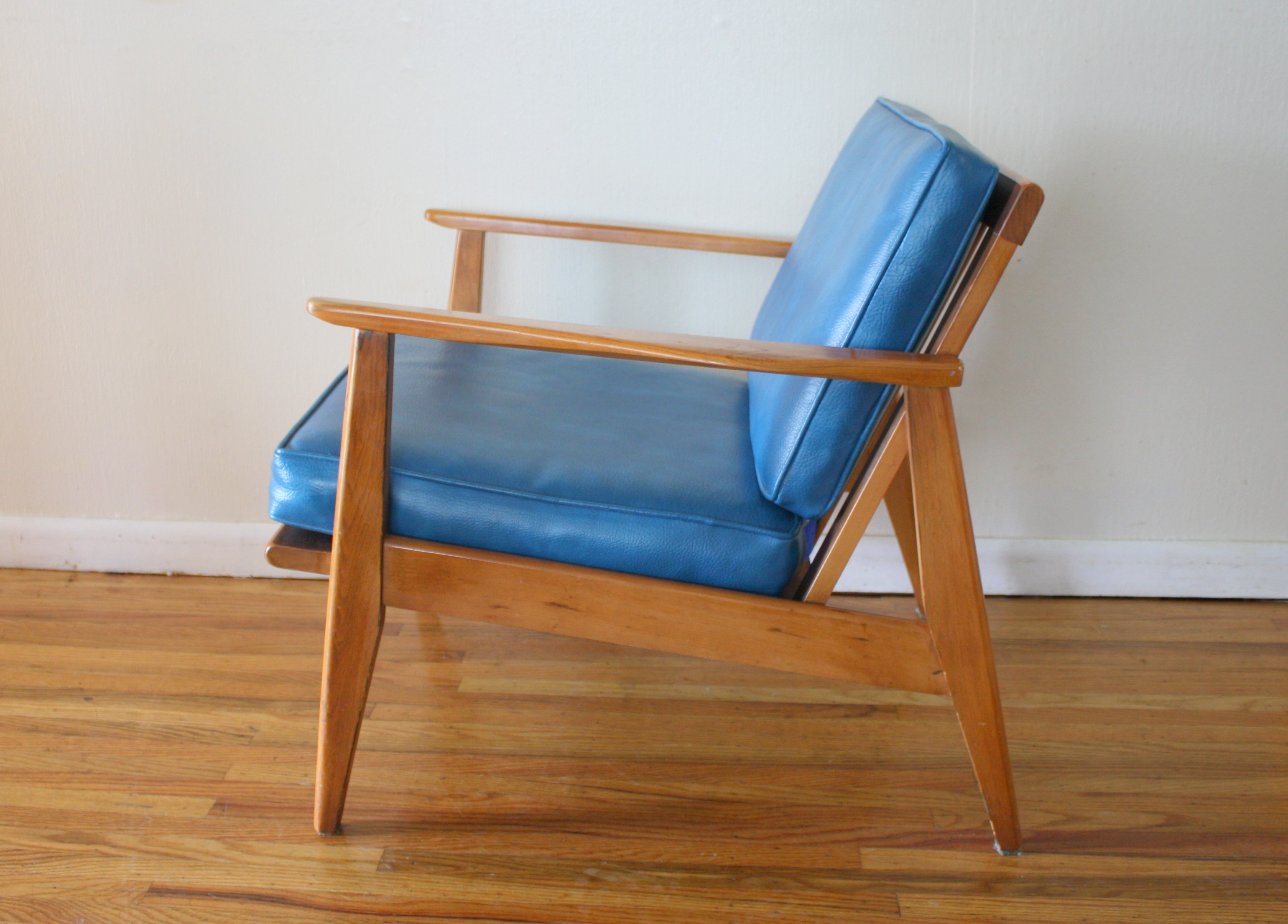 mcm blue lounge arm chair 2 | Picked Vintage