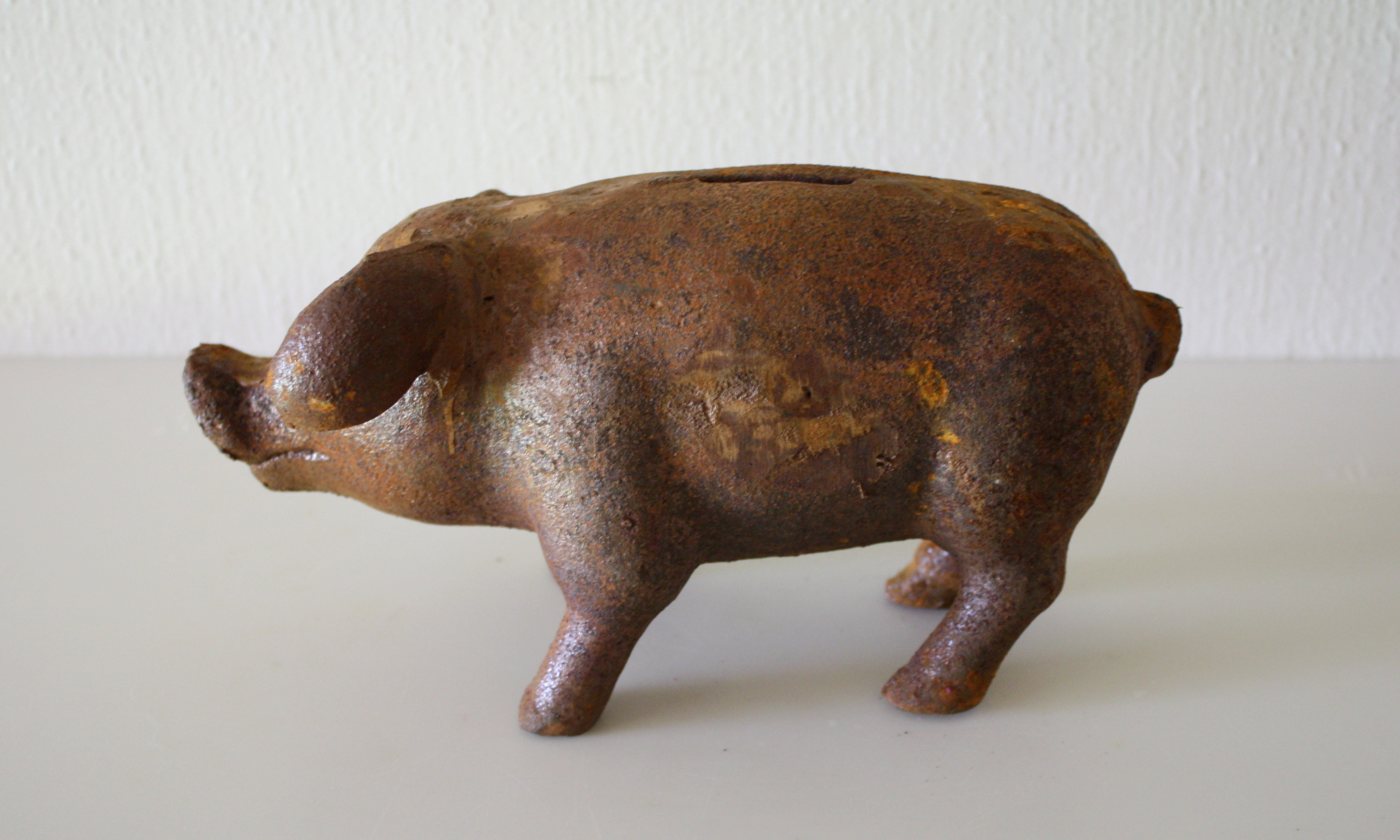 Antique Cast Iron Small Pig 3 Picked Vintage