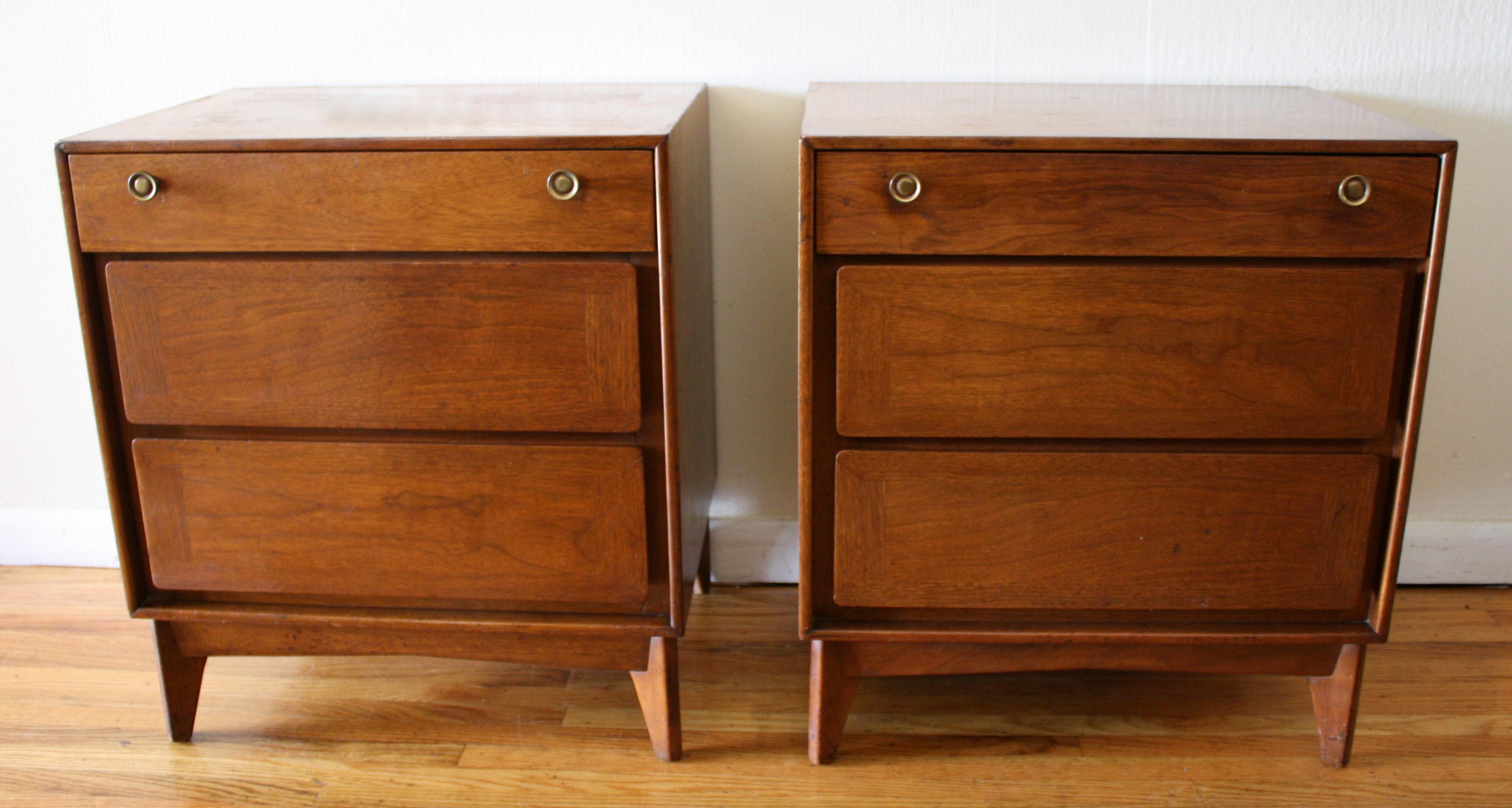 mcm 3 drawer end table pair 1