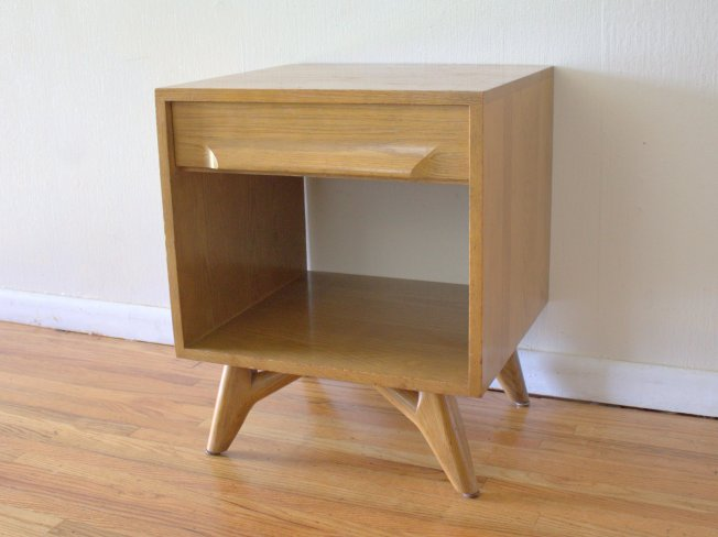 Mid century modern splayed side table: $275