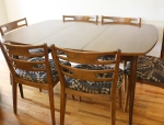 Mcm surfboard dining table with extension leaf, and 6 dining chairs