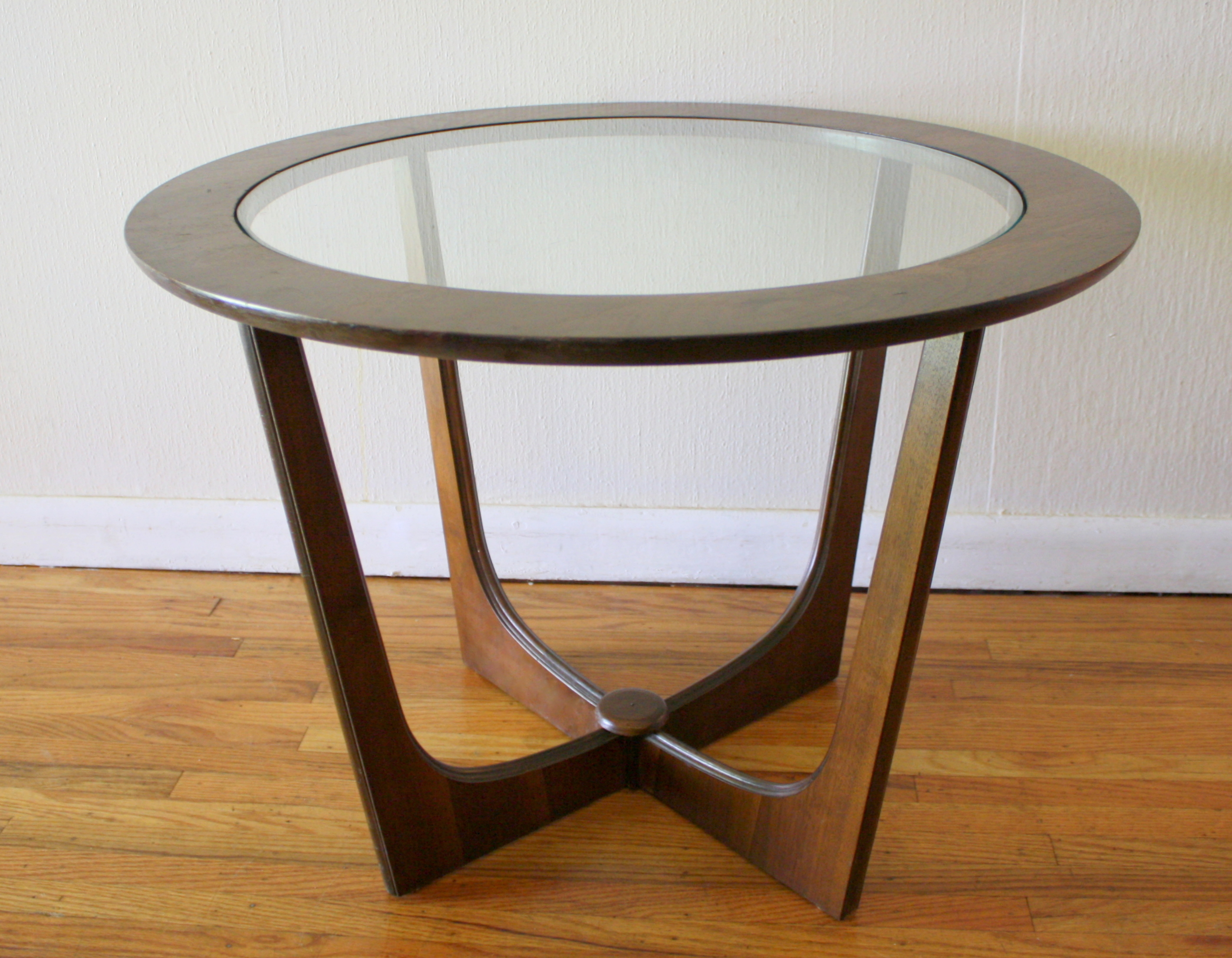 Mid Century Modern Glass Top Side Table