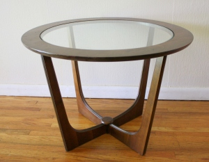 mcm glass insert round side table 1