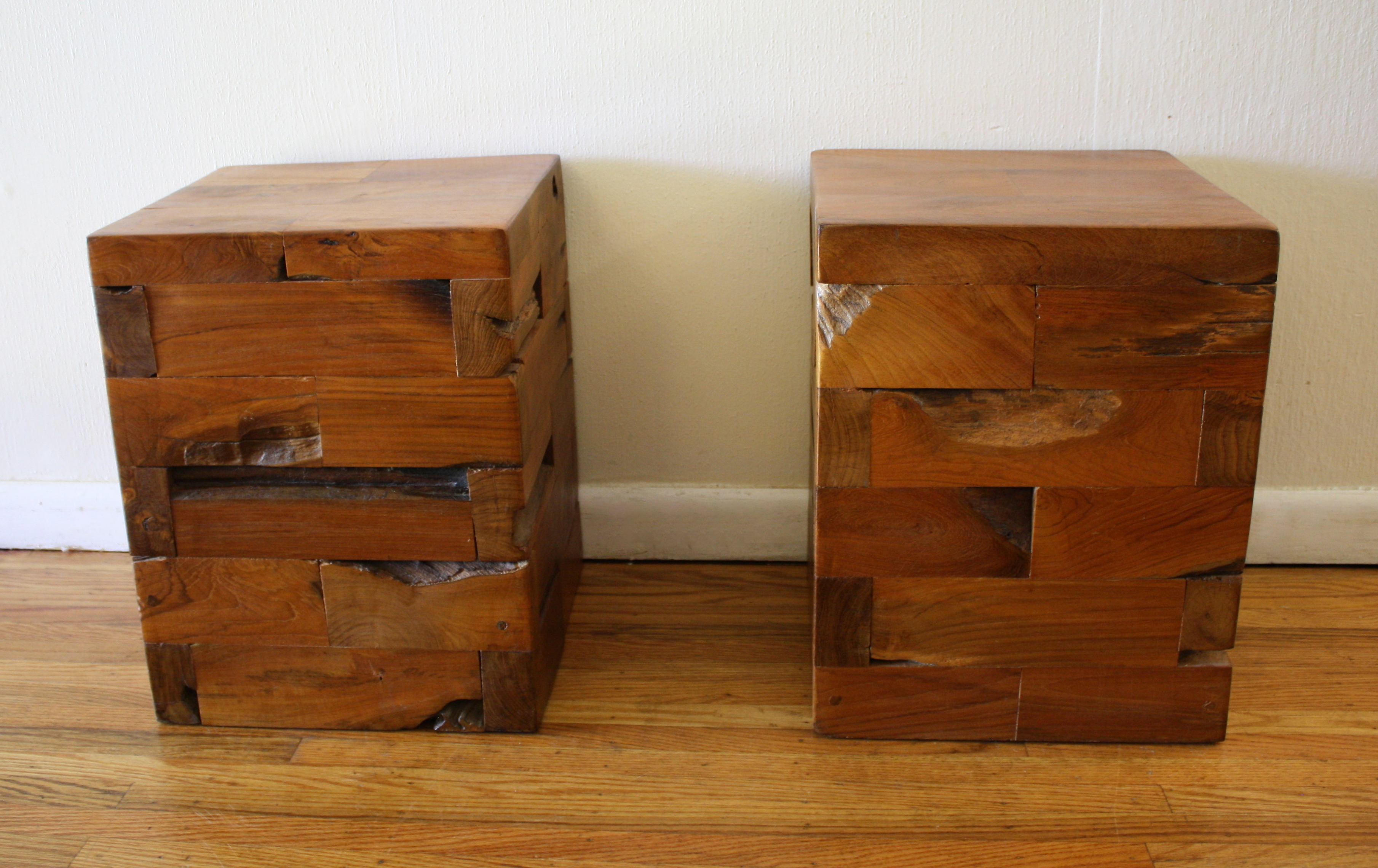 Industrial salvaged wood side end tables picked vintage Creative wooden furniture