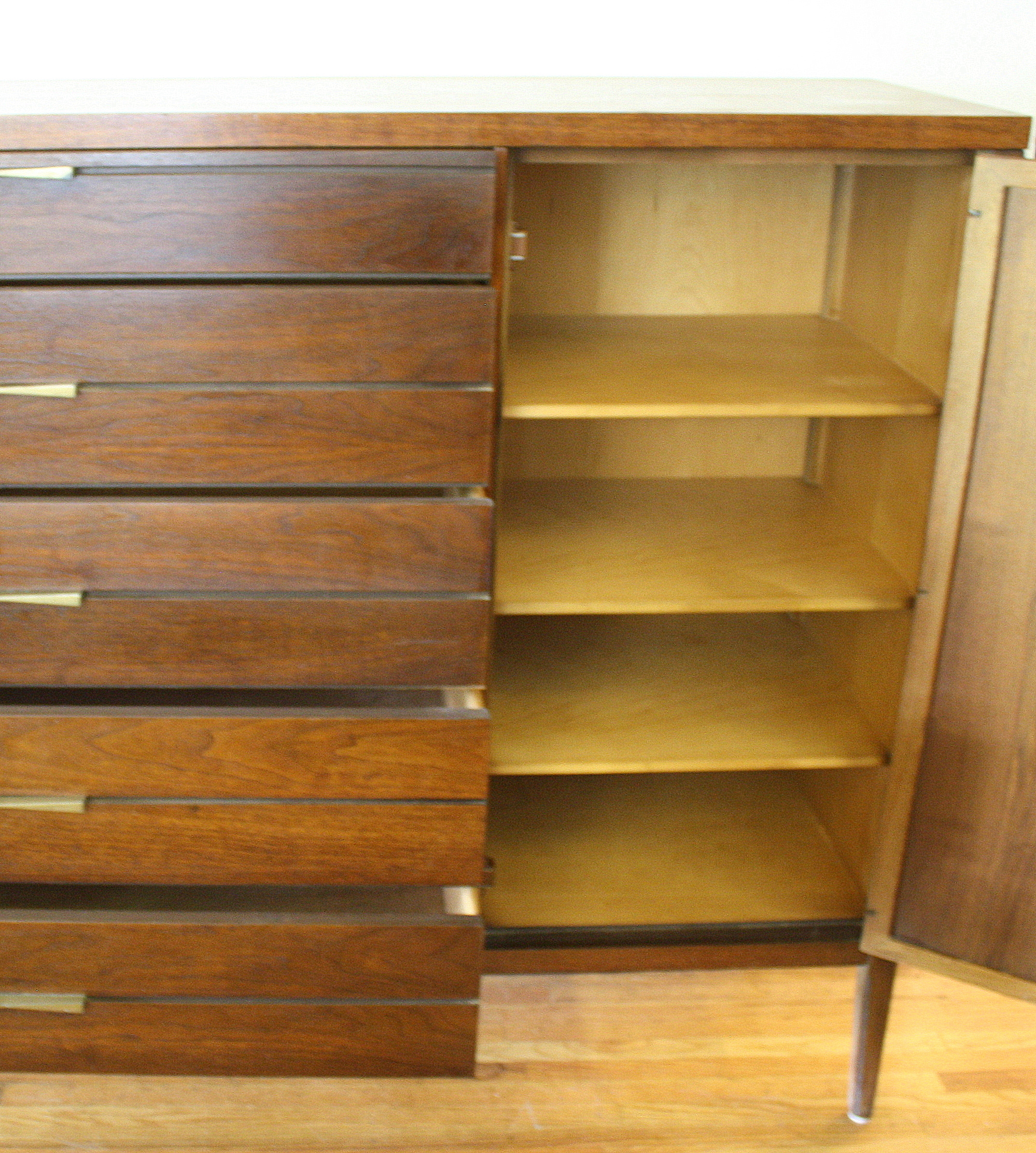 Mid Century Modern Lane Tuxedo Armoire And Low Dresser