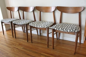 mcm curved back chairs with circle seats 1