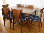 mcm surfboard dining table with 6 mcm chairs 1