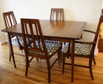 mcm surfboard dining table with circle chairs 11