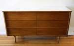 Mid century modern low dresser credenza with white mod formica top