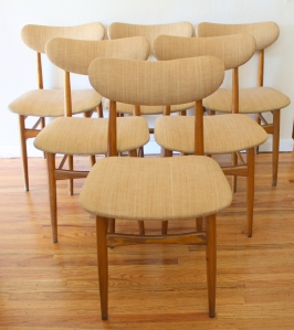 mcm set of 6 upholstered dining chairs 1