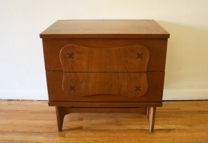 mcm Bassett side table with inlaid wood 1